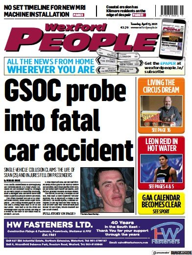 Front page of Wexford People newspaper from Ireland