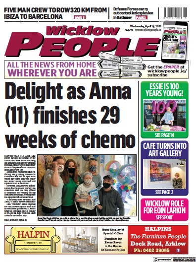 Front page of Wicklow People newspaper from Ireland