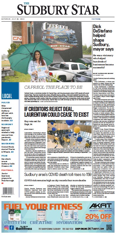 Front page of The Sudbury Star newspaper from Canada
