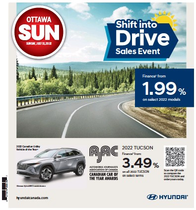 Front page of Ottawa Sun newspaper from Canada