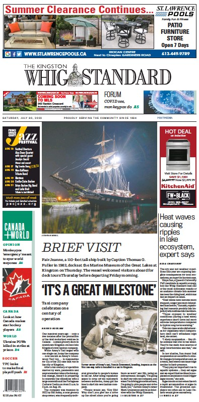 Front page of Kingston Whig-Standard newspaper from Canada