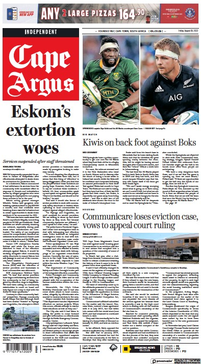 Front page of Cape Argus newspaper from South Africa