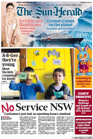 Front page of The Sun-Herald newspaper from Australia