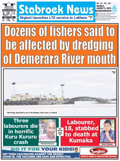 Front page of Stabroek News newspaper from Guyana