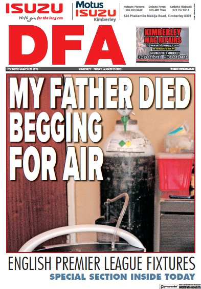 Front page of DFA newspaper from South Africa