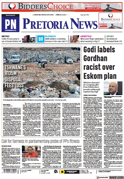 Front page of Pretoria News newspaper from South Africa