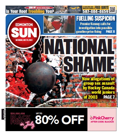 Front page of Edmonton Sun newspaper from Canada