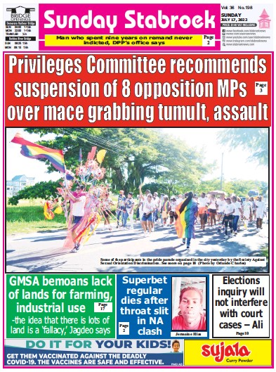 Front page of Stabroek News Sunday newspaper from Guyana