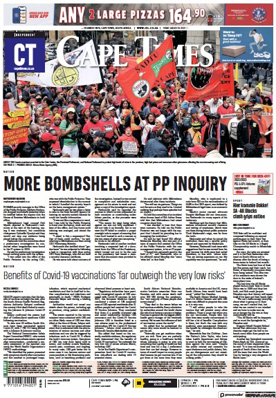 Front page of Cape Times newspaper from South Africa