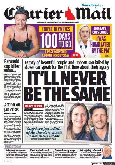 Front page of The Courier Mail newspaper from Australia