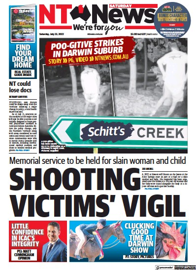 Front page of Northern Territory News newspaper from Australia