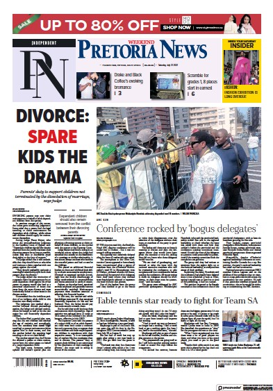 Front page of Pretoria News Weekend newspaper from South Africa