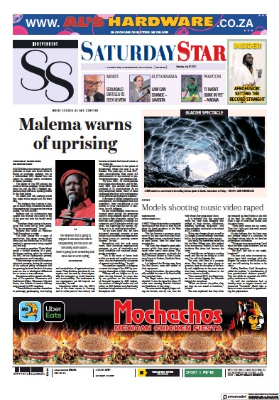 Front page of Saturday Star newspaper from South Africa