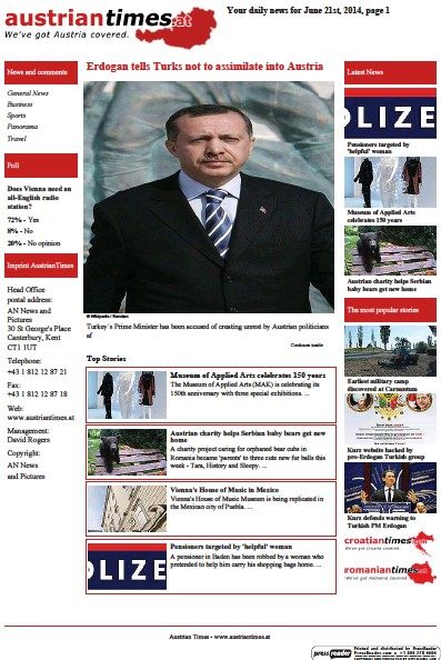 Front page of Austrian Times newspaper from Austria