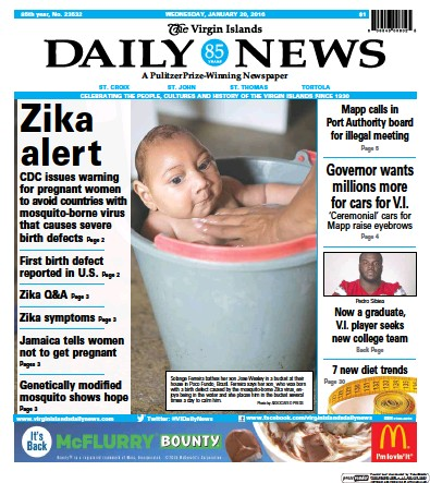 Front page of The Virgin Islands Daily News newspaper from Virgin Islands