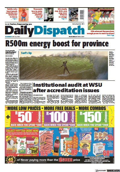 Front page of Daily Dispatch newspaper from South Africa