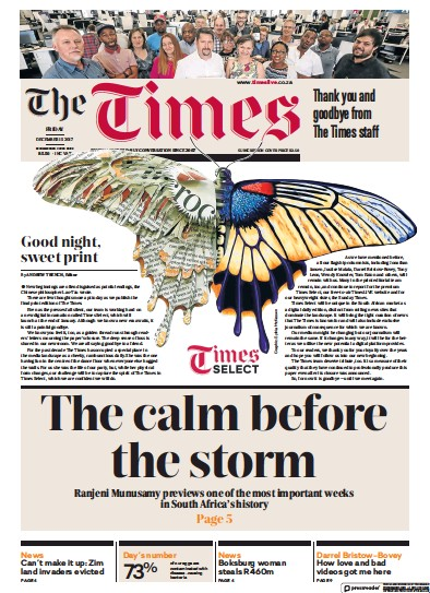 Front page of The Times (South Africa) newspaper from South Africa