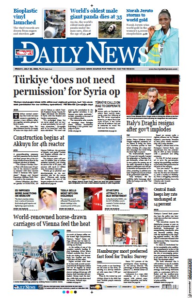 Front page of Hurriyet Daily News and Economic Review newspaper from Turkey