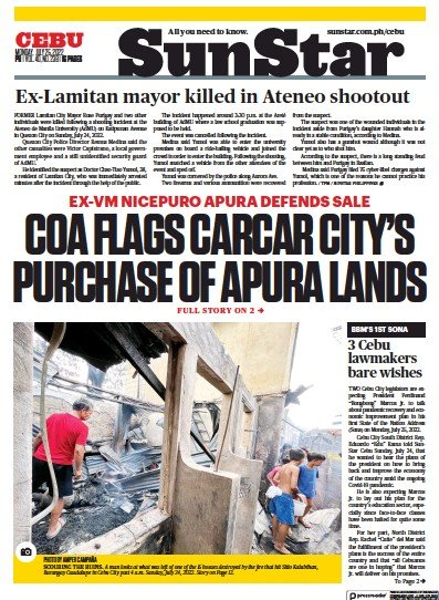 Front page of Sun.Star Cebu newspaper from Philippines
