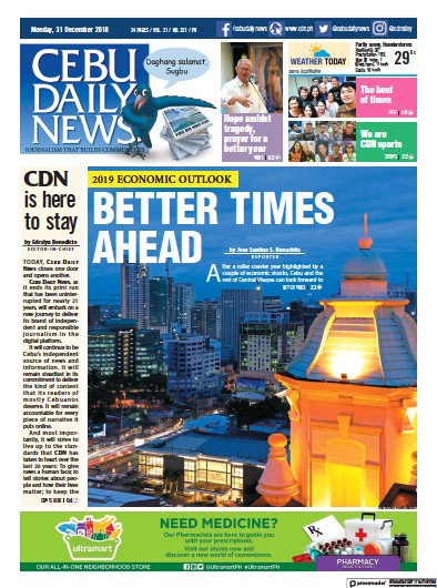 Front page of Cebu Daily News newspaper from Philippines