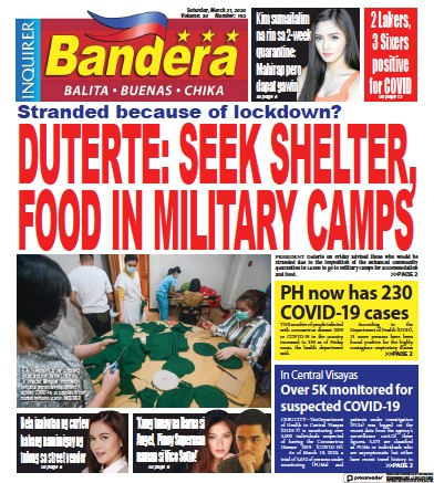 Front page of Bandera newspaper from Philippines