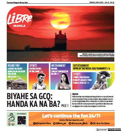 Front page of Inquirer Libre newspaper from Philippines