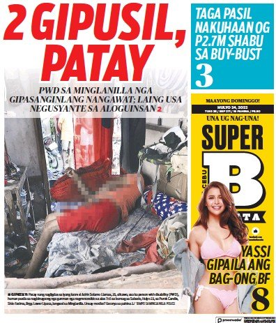 Front page of SuperBalita Cebu newspaper from Philippines