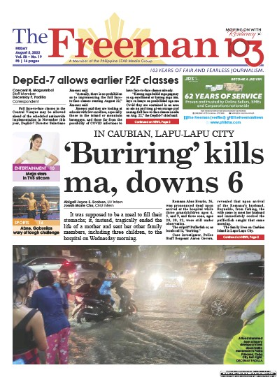 Front page of The Freeman newspaper from Philippines