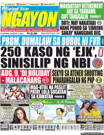 Front page of Pilipino Star Ngayon newspaper from Philippines