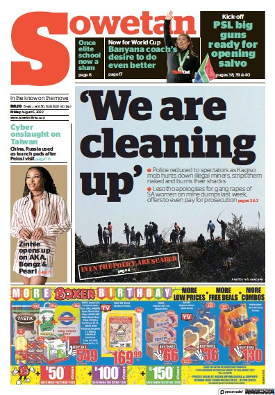 Front page of Sowetan newspaper from South Africa