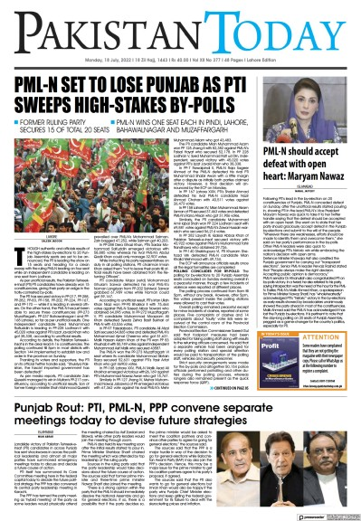 Front page of Pakistan Today (Lahore) newspaper from Pakistan