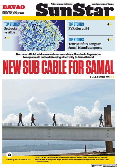 Front page of Sun. Star Davao newspaper from Philippines