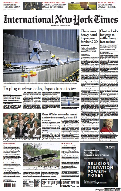 Front page of International Herald Tribune Asia newspaper from International