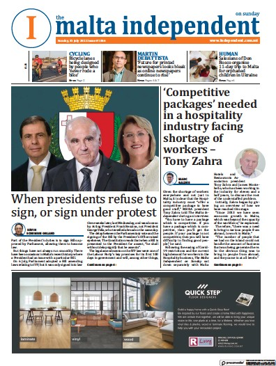 Front page of The Malta Independent on Sunday newspaper from Malta