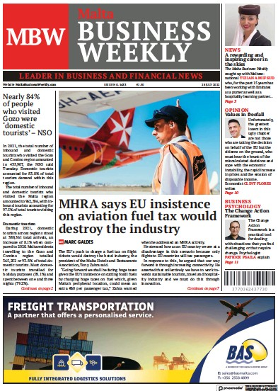 Front page of The Malta Business Weekly newspaper from Malta
