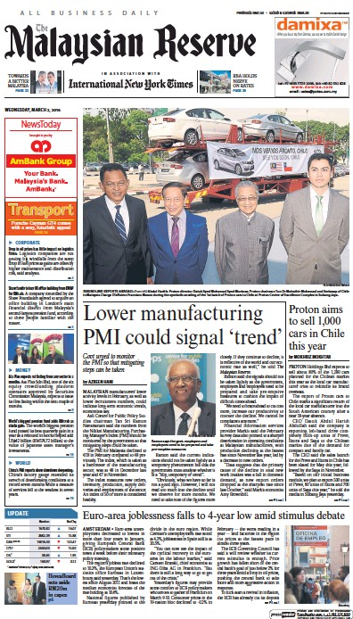Front page of The Malaysian Reserve newspaper from Malaysia