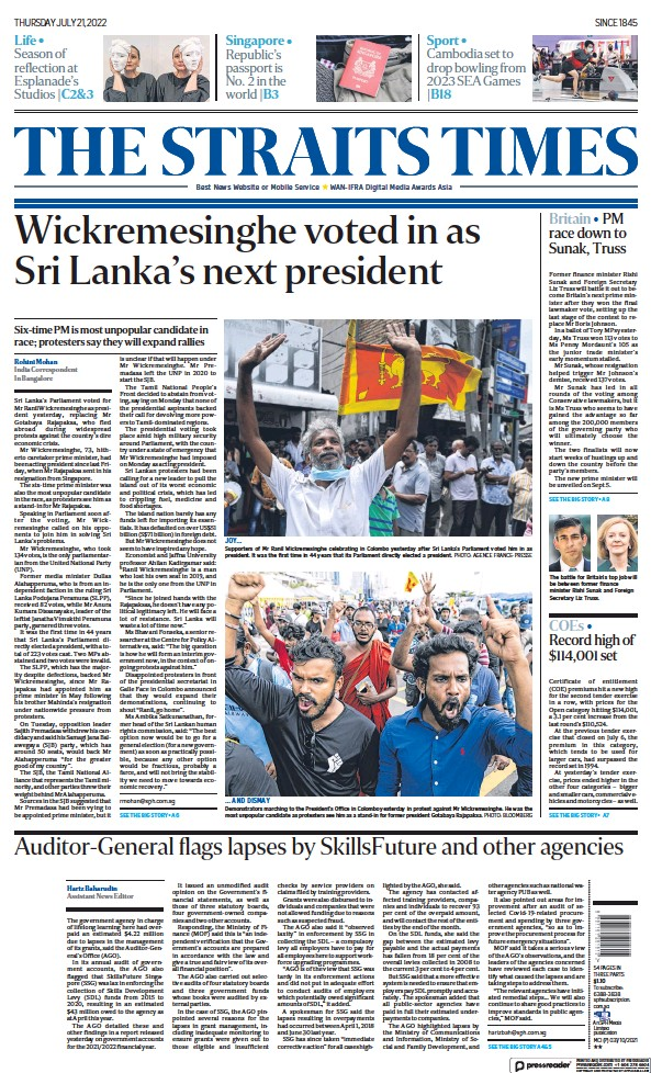 Read full digital edition of The Straits Times newspaper from Singapore