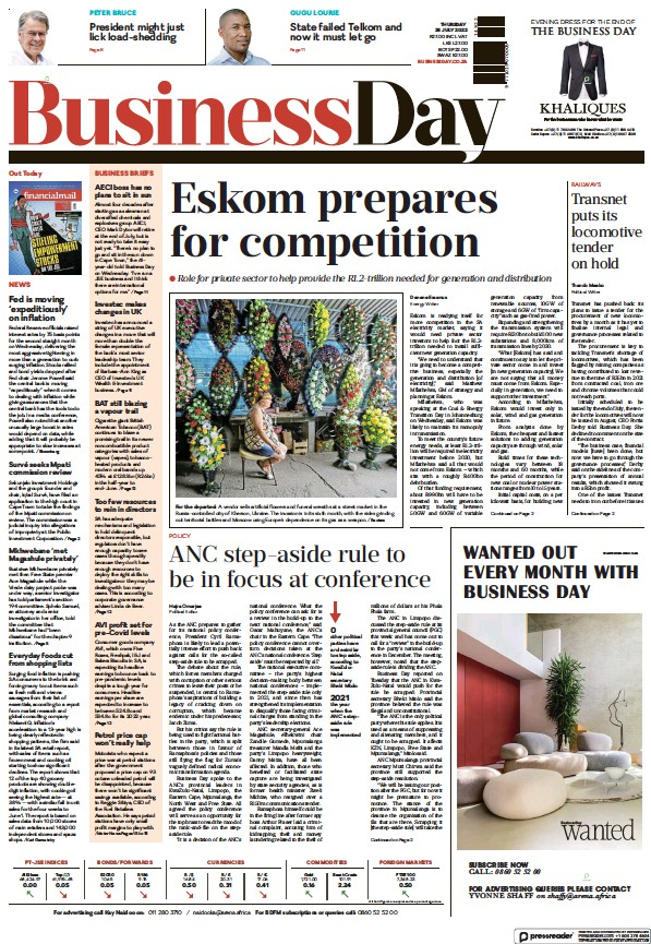 Read full digital edition of Business Day (South Africa) newspaper from South Africa