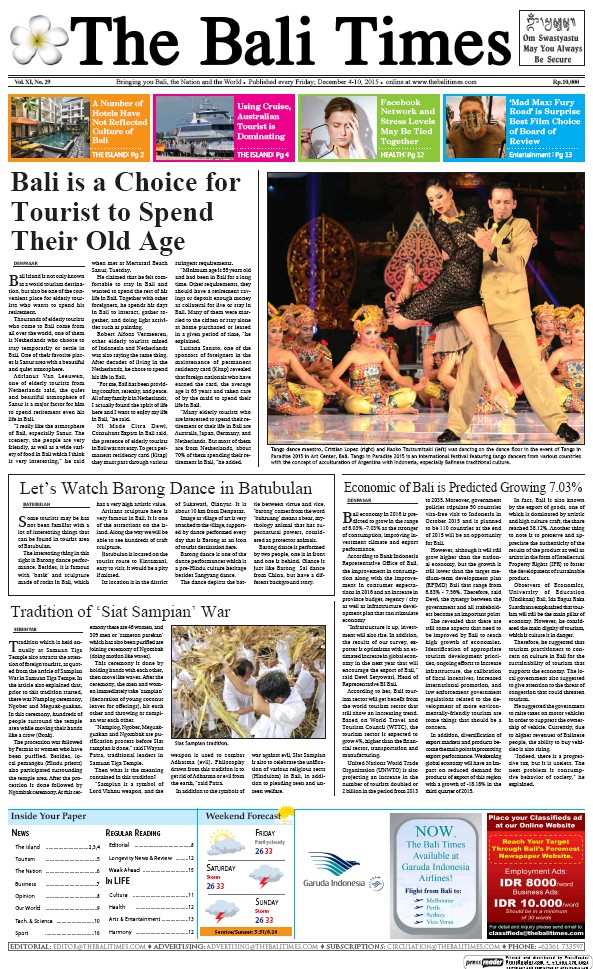 Read full digital edition of The Bali Times newspaper from Indonesia