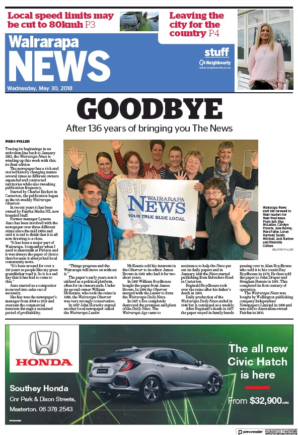 Read full digital edition of Wairarapa News newspaper from New Zealand