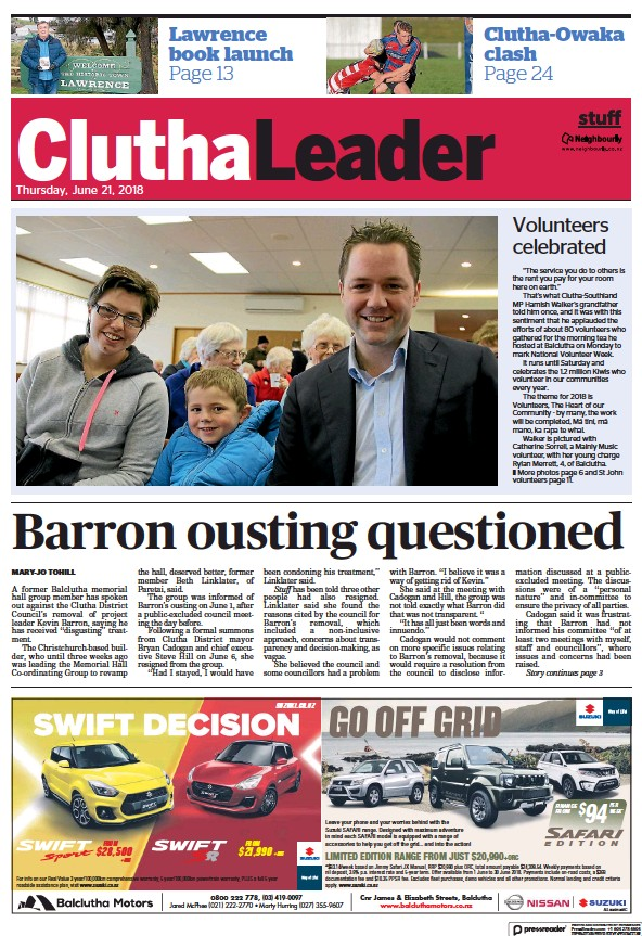 Read full digital edition of Clutha Leader newspaper from New Zealand