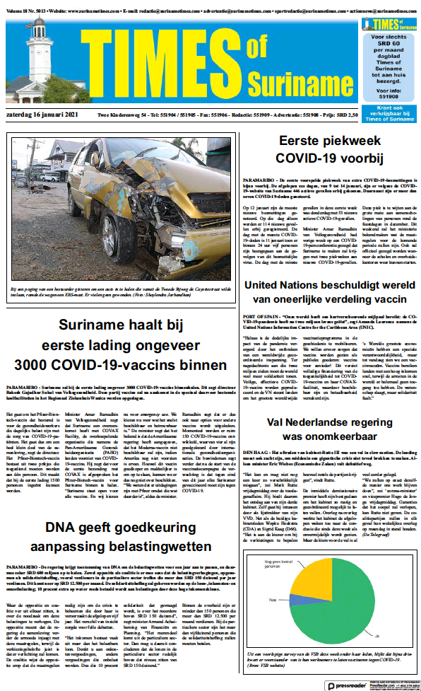 Read full digital edition of Times of Suriname newspaper from Suriname