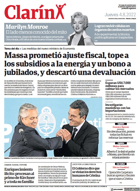 Read full digital edition of Clarin newspaper from Argentina