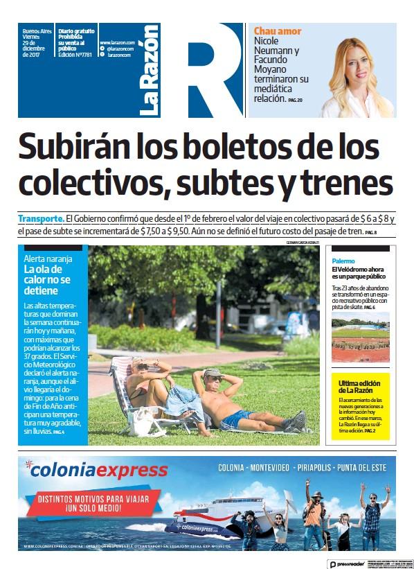Read full digital edition of La Razon newspaper from Argentina