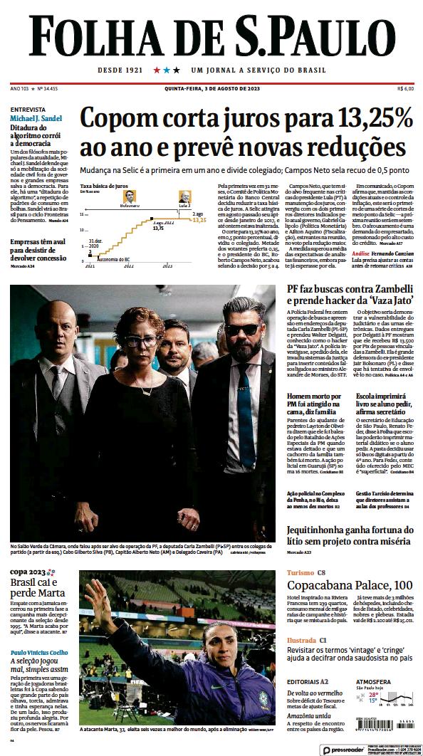 Read full digital edition of Folha De S.Paulo newspaper from Brazil