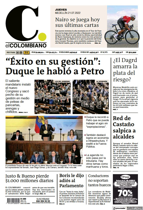 Read full digital edition of El Colombiano newspaper from Colombia