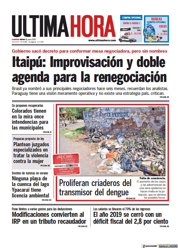 Read full digital edition of Ultima Hora newspaper from Paraguay