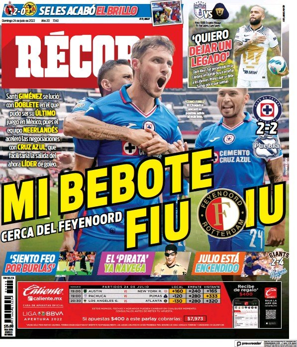 Read full digital edition of Record (Mexico) newspaper from Mexico