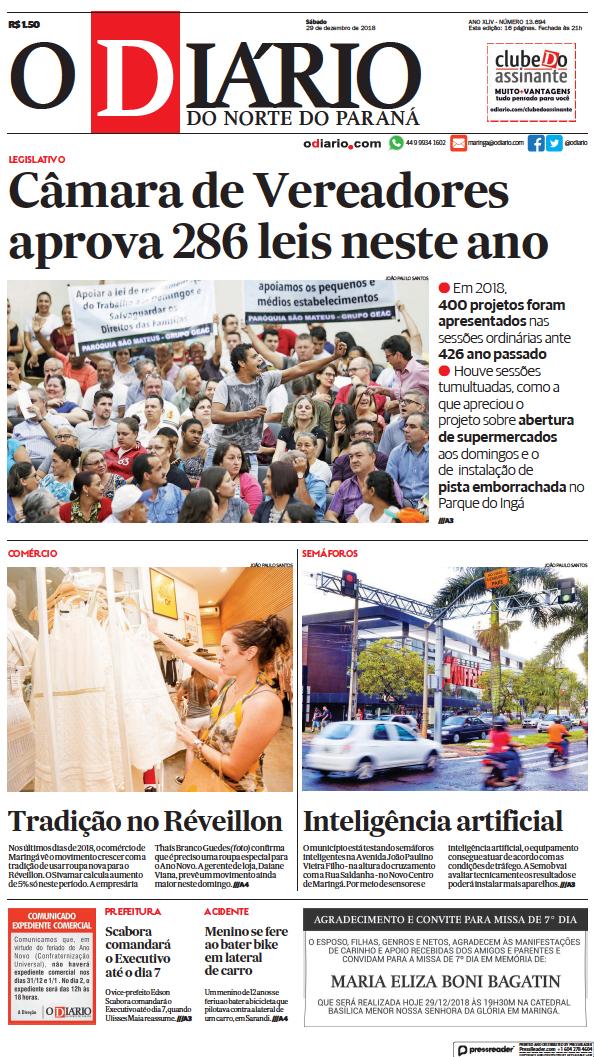 Read full digital edition of O Diario do Norte do Parana newspaper from Brazil