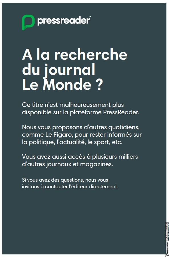 Read full digital edition of Le Monde newspaper from France